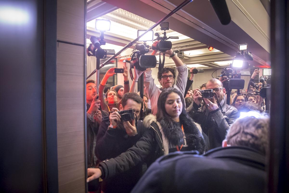 Benoît Hamon, candidat à la primaire de la gauche pour la présidentielle 2017, va prononcer son discours à la Mutualité à Paris, dimanche 29 janvier 2017 - 2017©Jean-Claude Coutausse / french-politics pour Le Monde