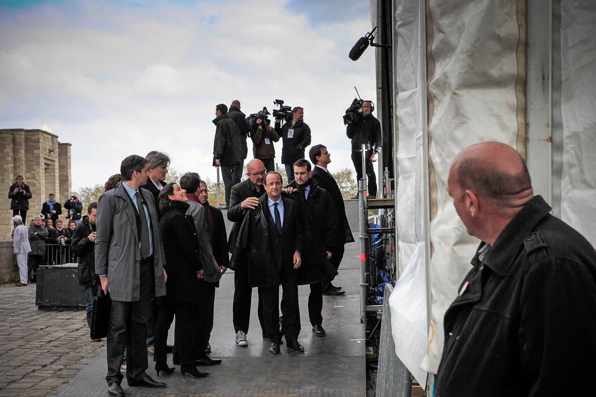 François Hollande devant le château de Vincennes, 15/04/2012