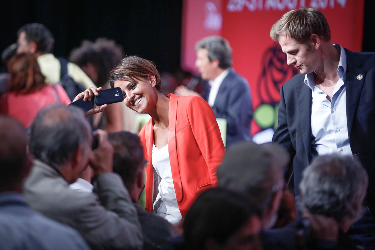 Najat Vallaud-Belkacem participe à l'Université d'été du Parti socialiste à La Rochelle. Samedi 30 août 2014 - 2014©Jean-Claude Coutausse / french-politics pour Le Monde