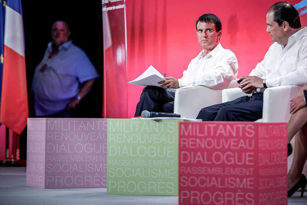 Jean-Christophe Cambadelis et Manuel Valls participent à l'Université d'été du Parti socialiste à La Rochelle. Dimanche 31 août 2014 - 2014©Jean-Claude Coutausse / french-politics pour Le Monde