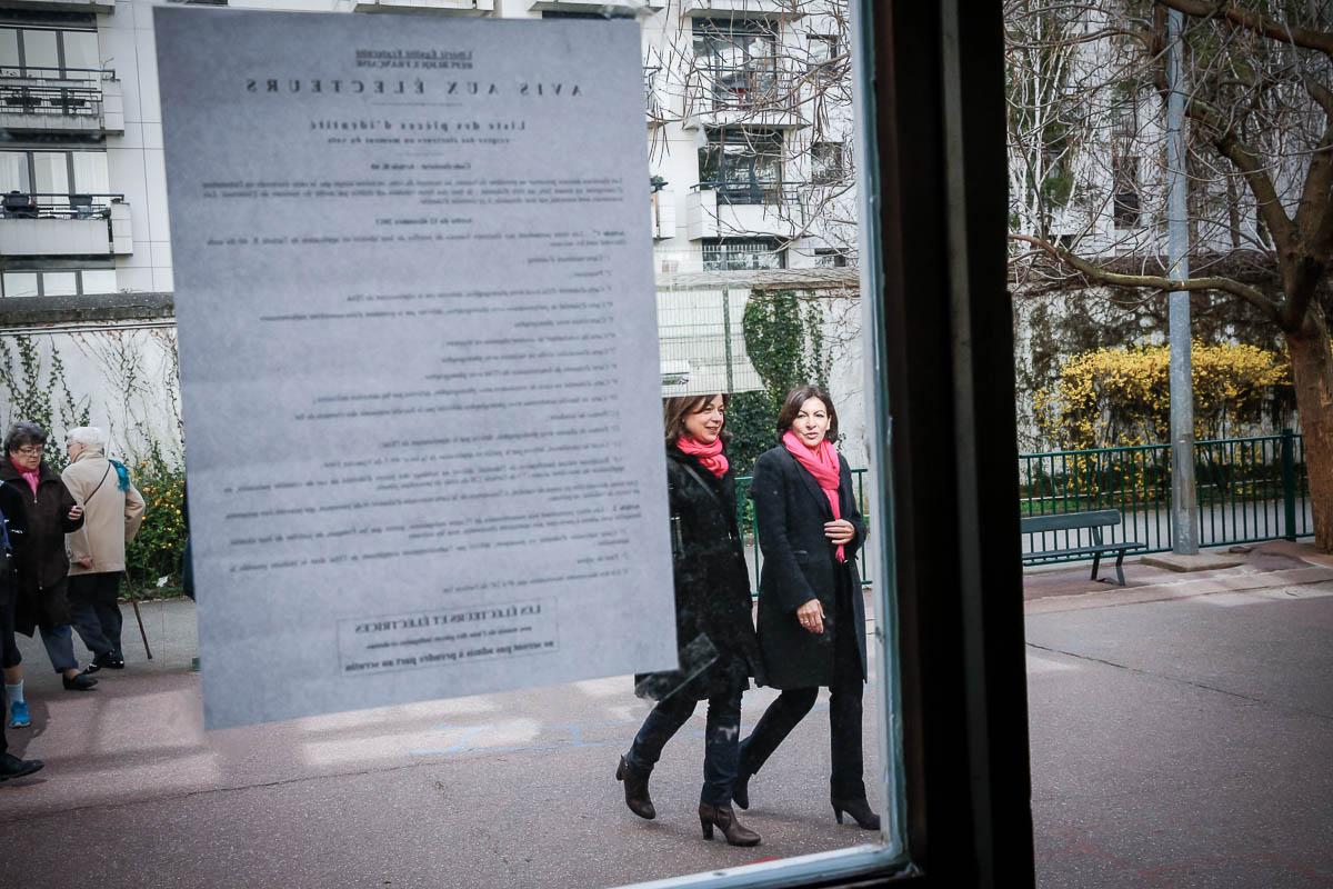 Un jour dans la vie d'Anne Hidalgo. 1er tour des municipales, Paris, 23/03/2014